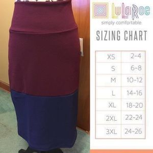 LuLaRoe Large Color-Block Cassie Pencil Skirt